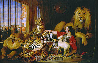 Isaac van Amburgh and his Animals, 1839 | Landseer| Painting Reproduction