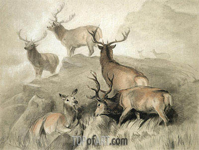 Some of the Best Harts in the Forest, 1860 | Landseer| Painting Reproduction