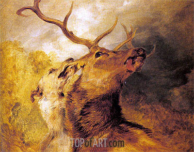 Stag and Hound, undated | Landseer | Painting Reproduction