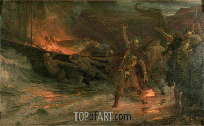 Frank Dicksee | The Funeral of a Viking, 1893