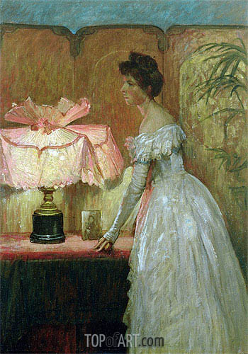 Lamplight Study of Interior with Lady, 1891 | Frank Dicksee| Painting Reproduction