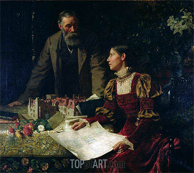 The House Builders, 1879 | Frank Dicksee| Painting Reproduction