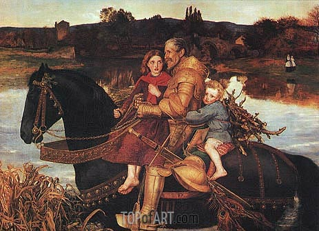 A Dream of the Past - Sir Isumbras at the Ford, 1857 | Millais | Painting Reproduction
