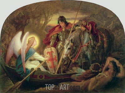 How an Angel Rowed Sir Galahad Across Dern Mere, undated | Joseph Noel Paton| Painting Reproduction