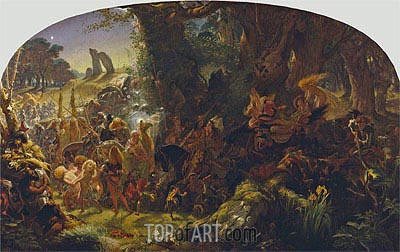 The Fairy Raid: Carrying off a Changeling - Midsummer Eve, 1867 | Joseph Noel Paton | Gemälde Reproduktion