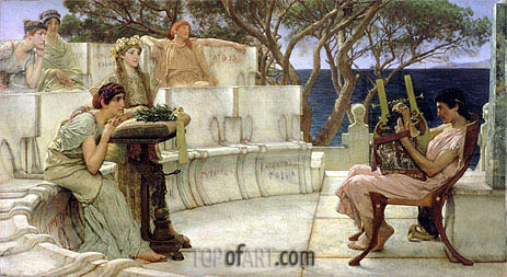 Sappho and Alcaeus, 1881 | Alma-Tadema| Painting Reproduction