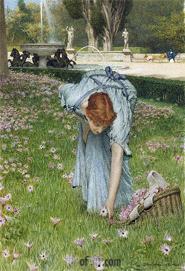 Flora - Spring in the Gardens of the Villa Borghese, 1877 | Alma-Tadema| Painting Reproduction
