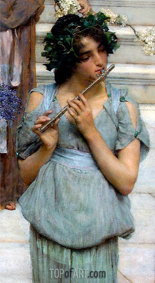 Alma-Tadema | The Fluted Girl, Detail from Spring, 1894