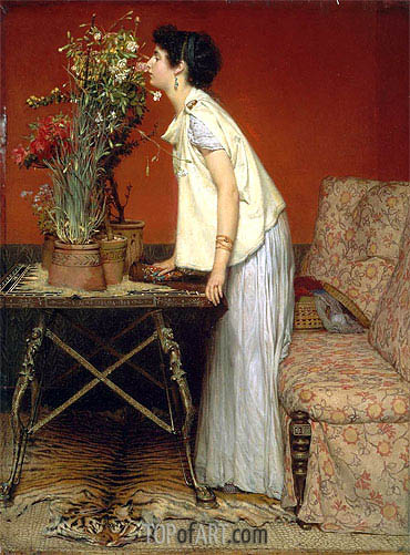 Woman and Flowers, 1868 | Alma-Tadema| Painting Reproduction
