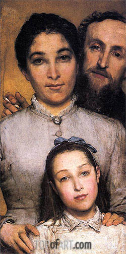 Portrait of Aime-Jules Dalou his Wife and Daughter, 1876 | Alma-Tadema| Painting Reproduction