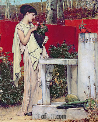 Woman with a Vase of Flowers,  | Alma-Tadema | Painting Reproduction