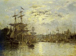 Bassin a Caen. Effet de lune, undated by Lepine | Painting Reproduction