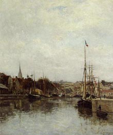 Caen, The Dock of Saint-Pierre, c.1860/64 von Lepine | Gemälde-Reproduktion
