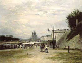 The Louviers Quay at Pont Sully (Henri IV Quay), c.1875 von Lepine | Gemälde-Reproduktion