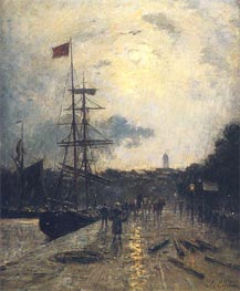 A Quay at Caen | Lepine | Painting Reproduction