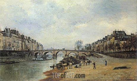 Quais of the Seine, Pont-Marie, 1868 | Lepine | Gemälde Reproduktion