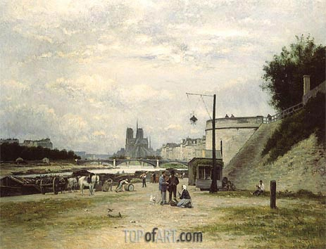 The Louviers Quay at Pont Sully (Henri IV Quay), c.1875 | Lepine | Painting Reproduction