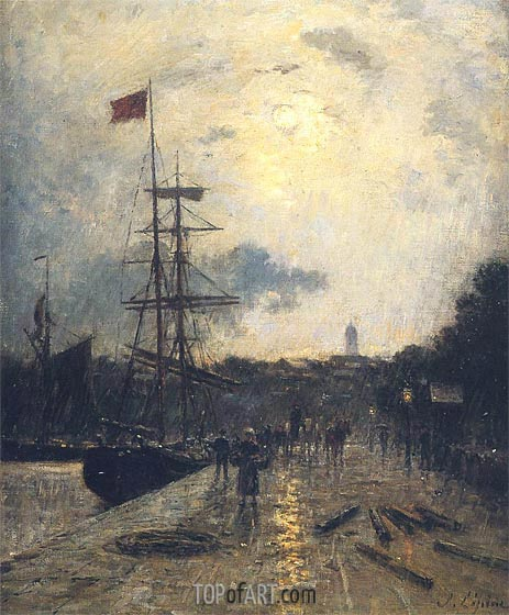 Lepine | A Quay at Caen, undated