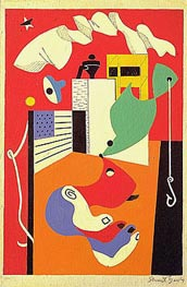 T-View, 1932 by Stuart Davis | Painting Reproduction
