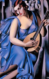 Lady in Blue with Guitar, 1929 von Lempicka | Gemälde-Reproduktion