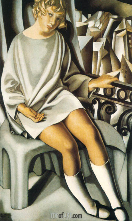 Kizette on the Balcony, 1927 | Lempicka | Gemälde Reproduktion