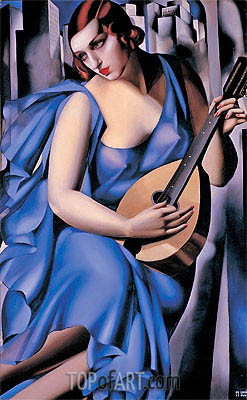 Lady in Blue with Guitar, 1929 | Lempicka | Gemälde Reproduktion