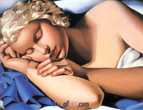 The Sleeping Girl Kizette, c.1933 | Lempicka | Painting Reproduction