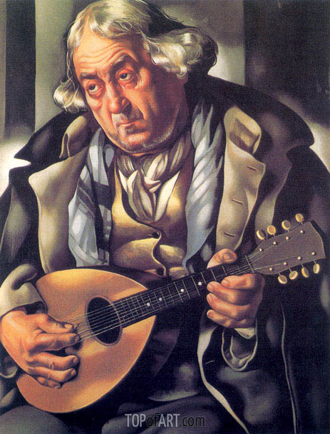 Beggar with Mandolin, 1935 | Lempicka | Painting Reproduction