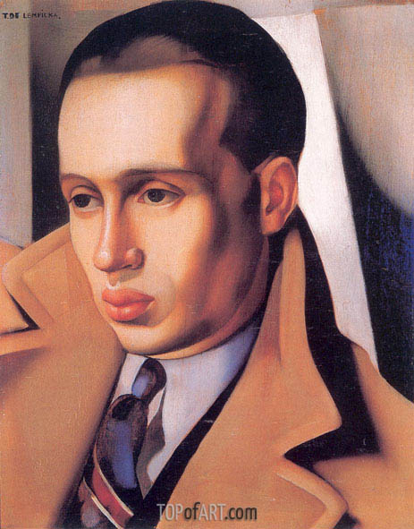 Lempicka | Portrait of a Man with His Collar Turned Up, c.1931