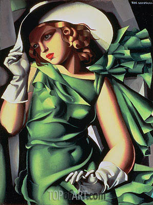 Young Lady with Gloves (Young Girl in Green), 1927 | Lempicka | Painting Reproduction