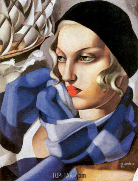 The Blue Scarf, 1930 | Lempicka | Painting Reproduction