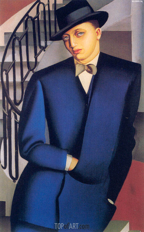 Portrait of the Marquis d'Afflito (On a Staircase), 1926 | Lempicka | Gemälde Reproduktion