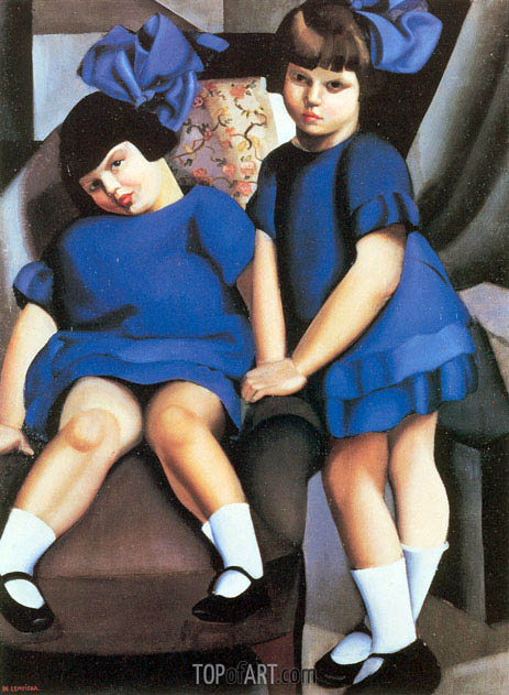 Two Little Girls with Ribbons, 1925 | Lempicka | Gemälde Reproduktion