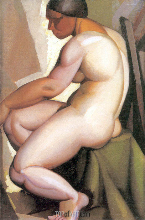 Seated Nude in Profile, c.1923 | Lempicka | Painting Reproduction