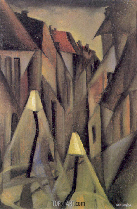 A Street at Night, c.1923 | Lempicka | Gemälde Reproduktion