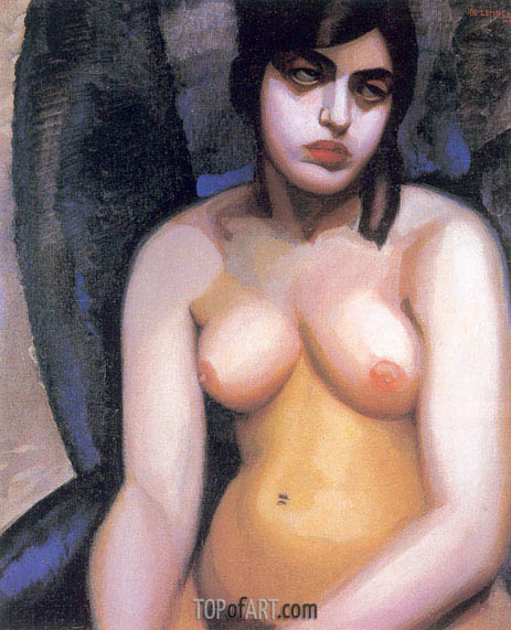 Nude Blue Background, 1923 | Lempicka | Painting Reproduction