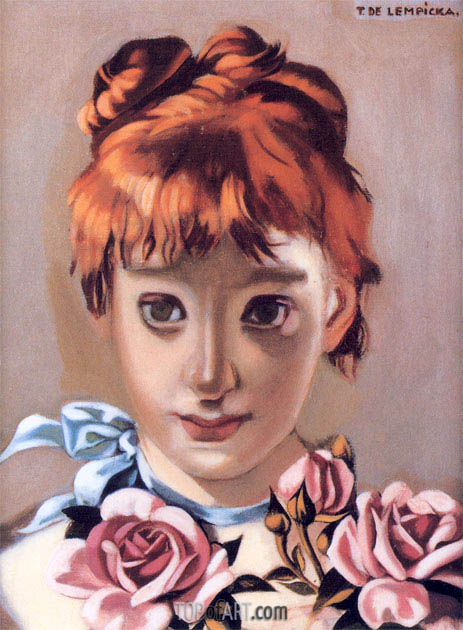 Redheaded Girl and Garland of Roses, c.1944 | Lempicka | Painting Reproduction