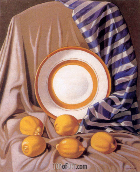 Still Life with Lemons and Plate, c.1942 | Lempicka | Painting Reproduction
