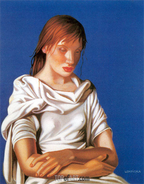 Young Lady with Crossed Arms, 1939 | Lempicka | Painting Reproduction