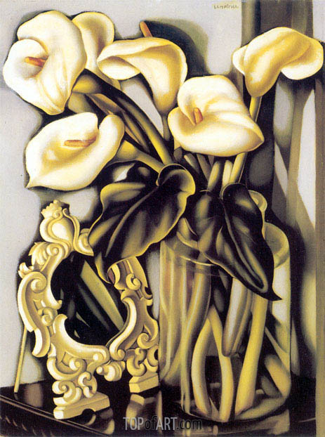 Still Life with Arums and Mirror, c.1938 | Lempicka | Painting Reproduction