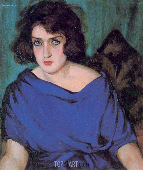 Portrait of a Young Lady in a Blue Dress, 1922 | Lempicka | Gemälde Reproduktion