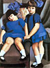 Two Little Girls with Ribbons | Tamara de Lempicka (inspired by)