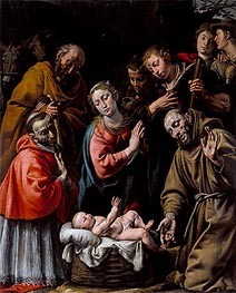 Adoration of the Shepherds with Saints Francis and Carlo Borromeo, c.1628 von Tanzio da Varallo | Gemälde-Reproduktion