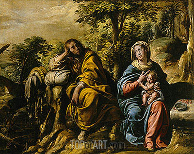 The Rest on the Flight into Egypt, c.1625/30 | Tanzio da Varallo | Gemälde Reproduktion