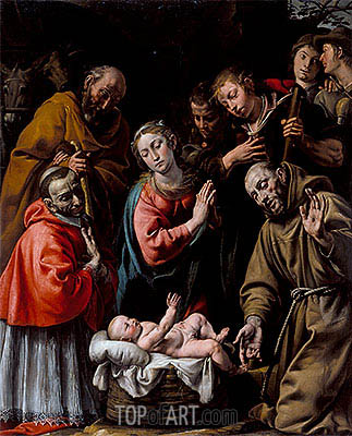 Adoration of the Shepherds with Saints Francis and Carlo Borromeo, c.1628 | Tanzio da Varallo| Gemälde Reproduktion