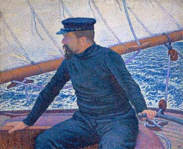 Paul Signac Aboard His Sailboat, 1886 by Rysselberghe | Painting Reproduction