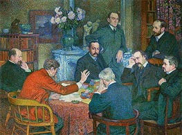 The Lecture by Emile Verhaeren (Reading in Saint-Cloud), 1903 by Rysselberghe | Painting Reproduction