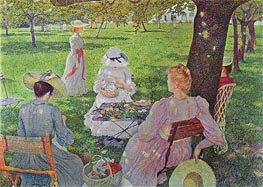 Family in an Orchard, 1890 by Rysselberghe | Painting Reproduction