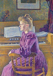 Maria Sethe at the Harmonium, 1891 by Rysselberghe | Painting Reproduction