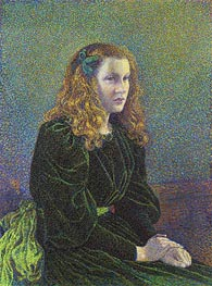 Young Woman in Green Dress (Germaine Marechal), 1893 by Rysselberghe | Painting Reproduction